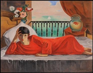 板倉鼎「休む赤衣の女」
